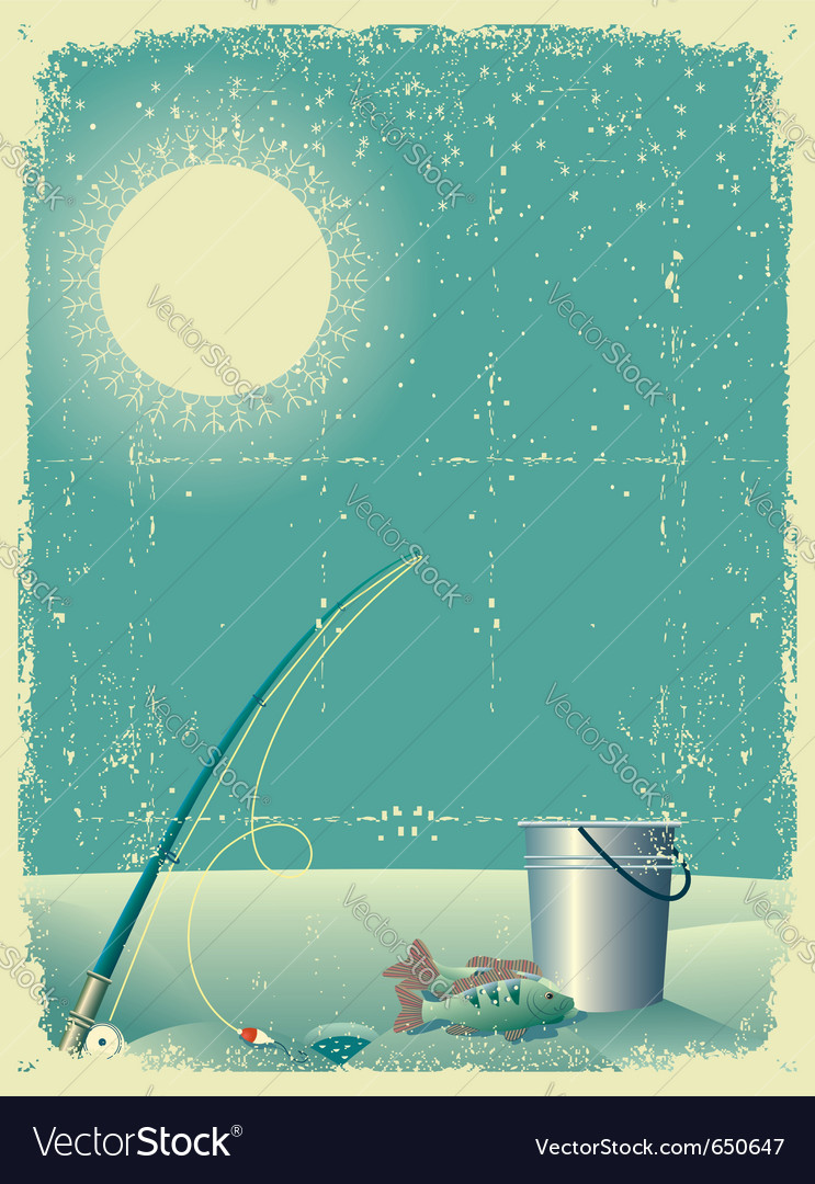 Fishing in winter snow vector | Price: 1 Credit (USD $1)
