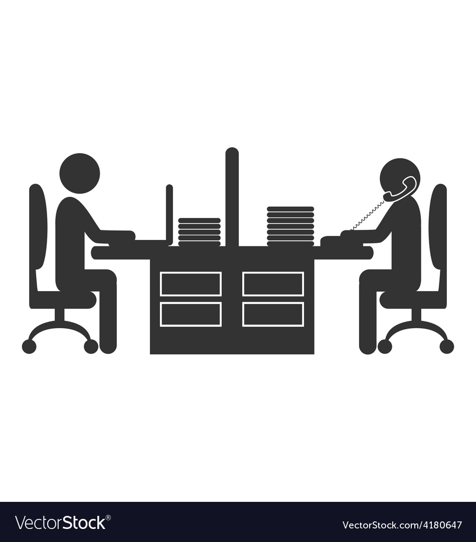 Flat office icon with workers isolated on white vector | Price: 1 Credit (USD $1)