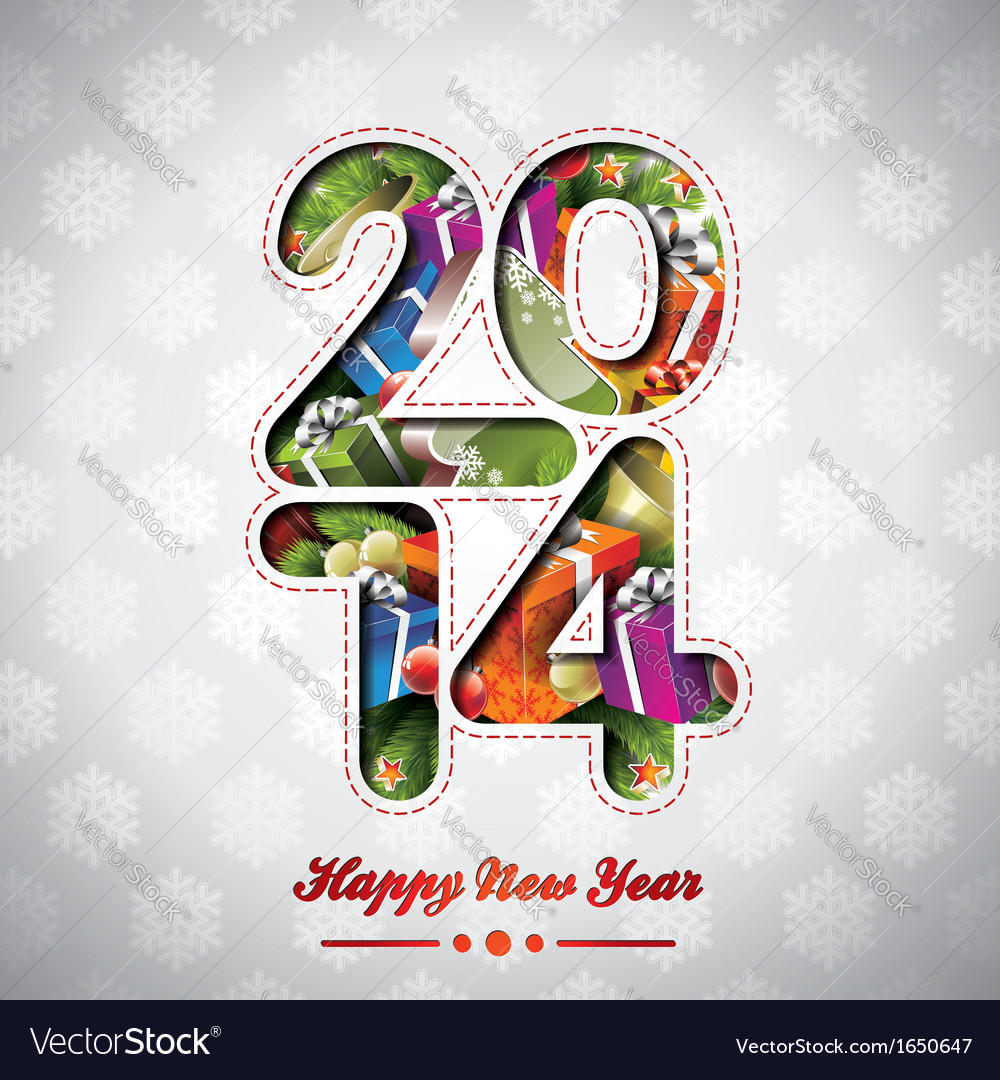 Happy new year 2014 colorful background vector | Price: 1 Credit (USD $1)