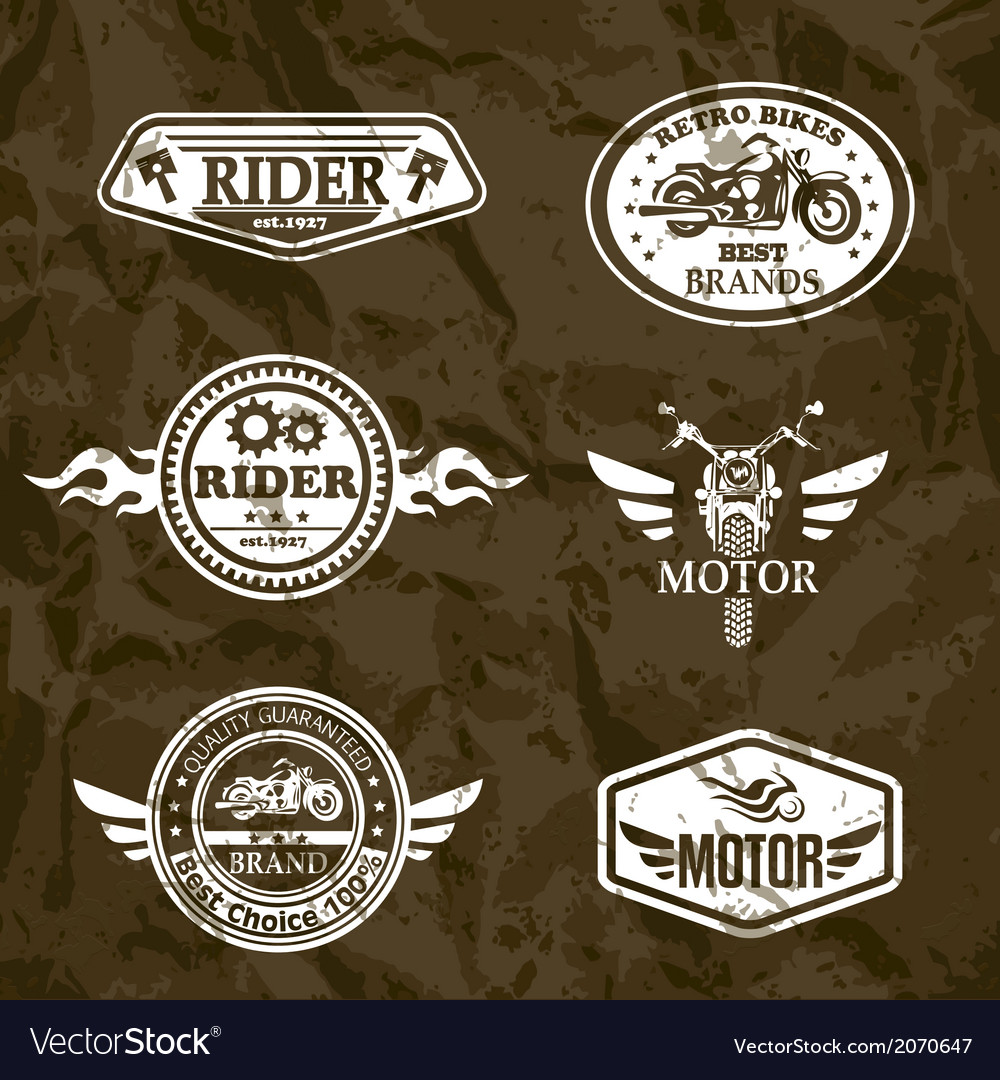 Motorcycle vintage labels set of emblems vector | Price: 1 Credit (USD $1)