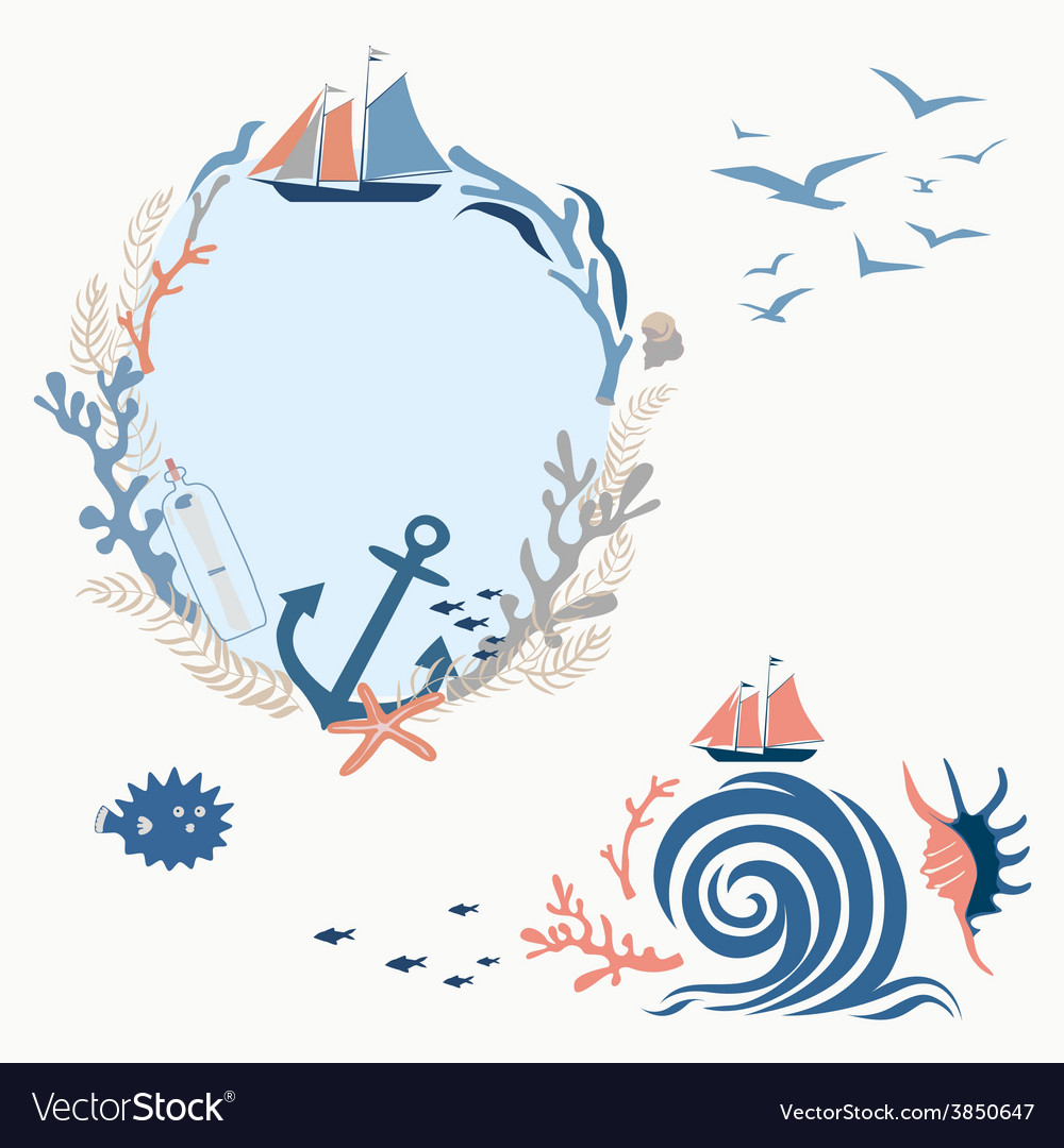 Sea voyage romantic designs vector | Price: 1 Credit (USD $1)