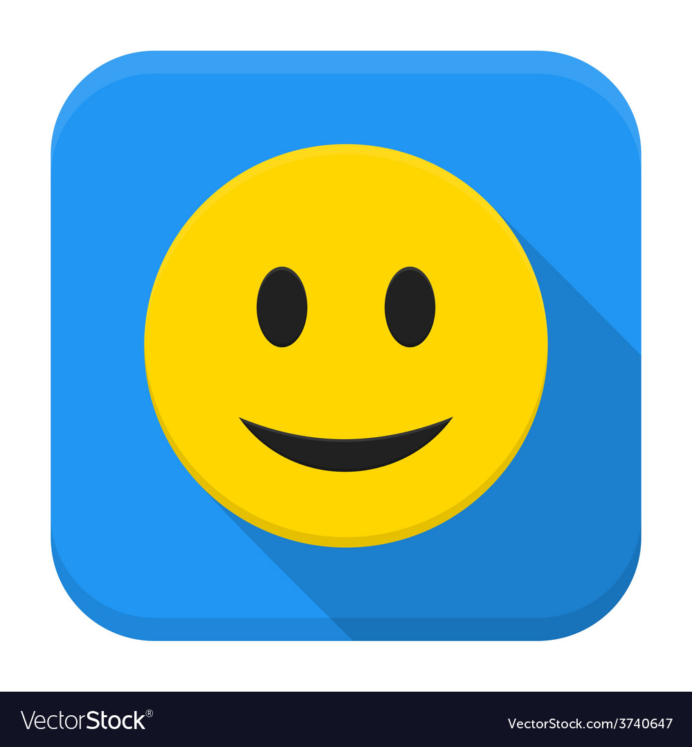 Smiling yellow face app icon with long shadow vector | Price: 1 Credit (USD $1)