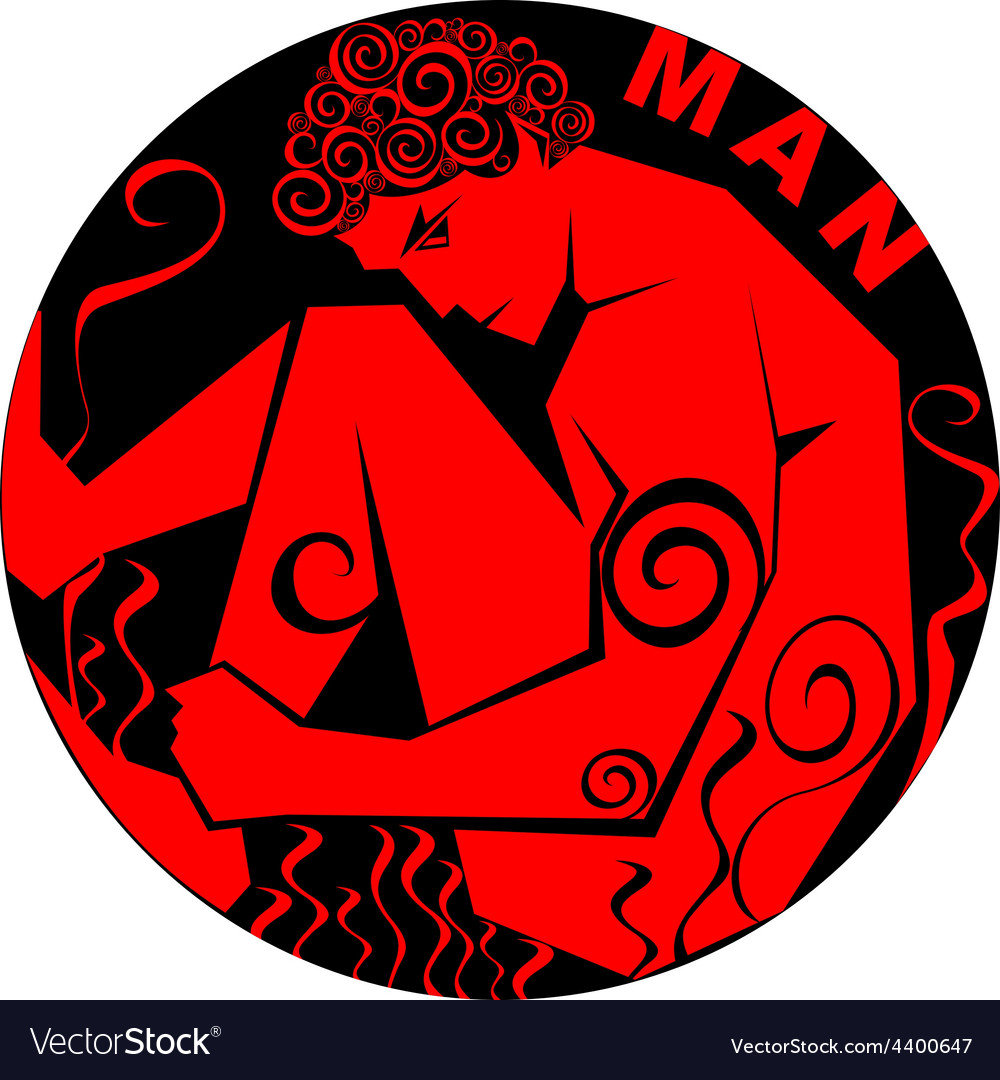 Stylized image of a man in a circle vector | Price: 1 Credit (USD $1)