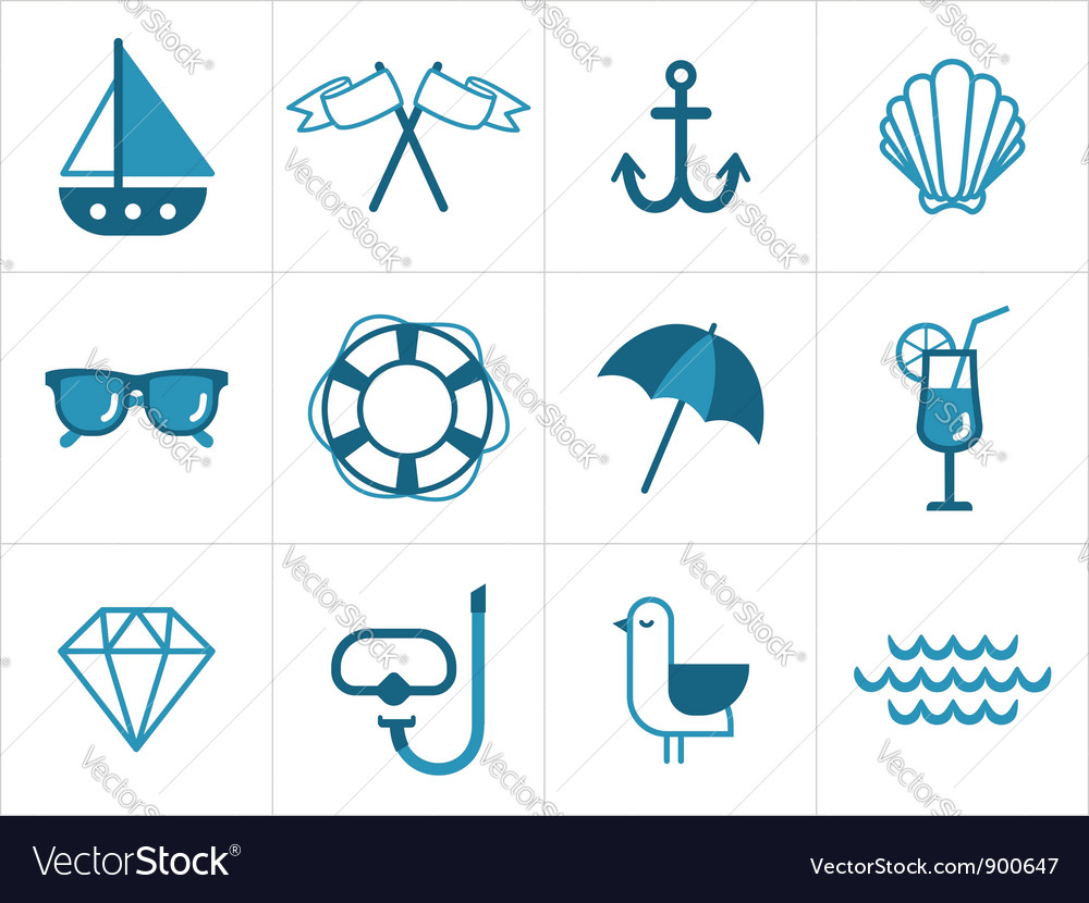 Summer sea icons vector | Price: 1 Credit (USD $1)