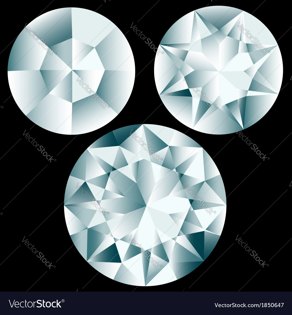 Three round diamond cuts vector | Price: 1 Credit (USD $1)