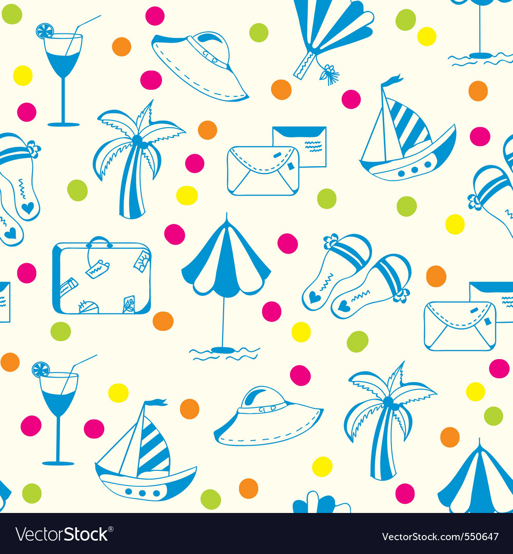 Vacation travel pattern vector | Price: 1 Credit (USD $1)