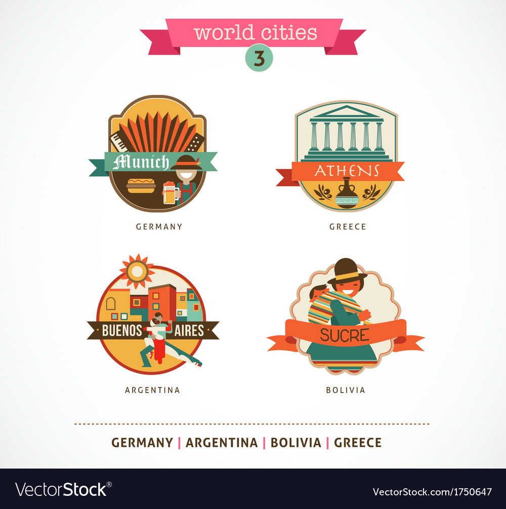 World cities labels - sucre buenos aires munich vector | Price: 1 Credit (USD $1)