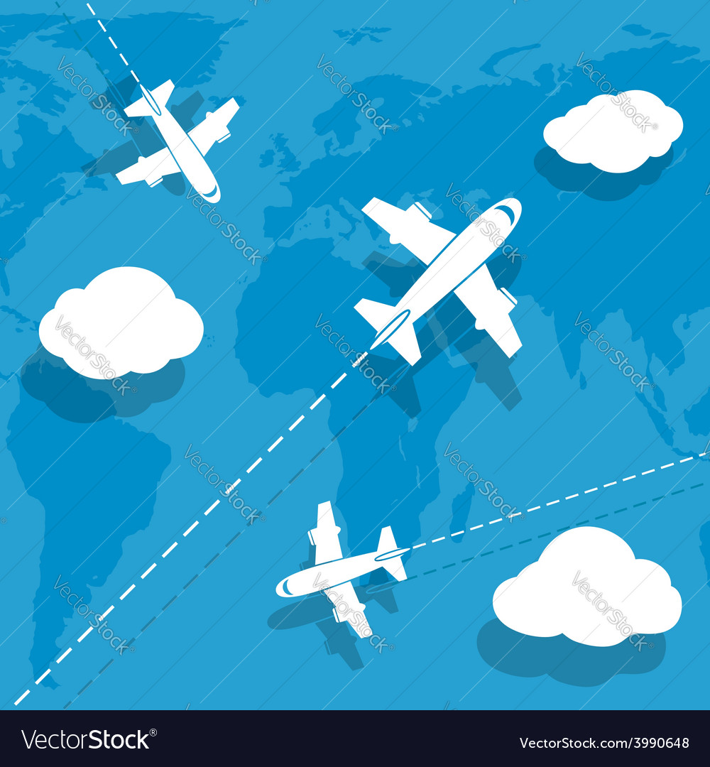 Aircraft flying over earth map vector | Price: 1 Credit (USD $1)