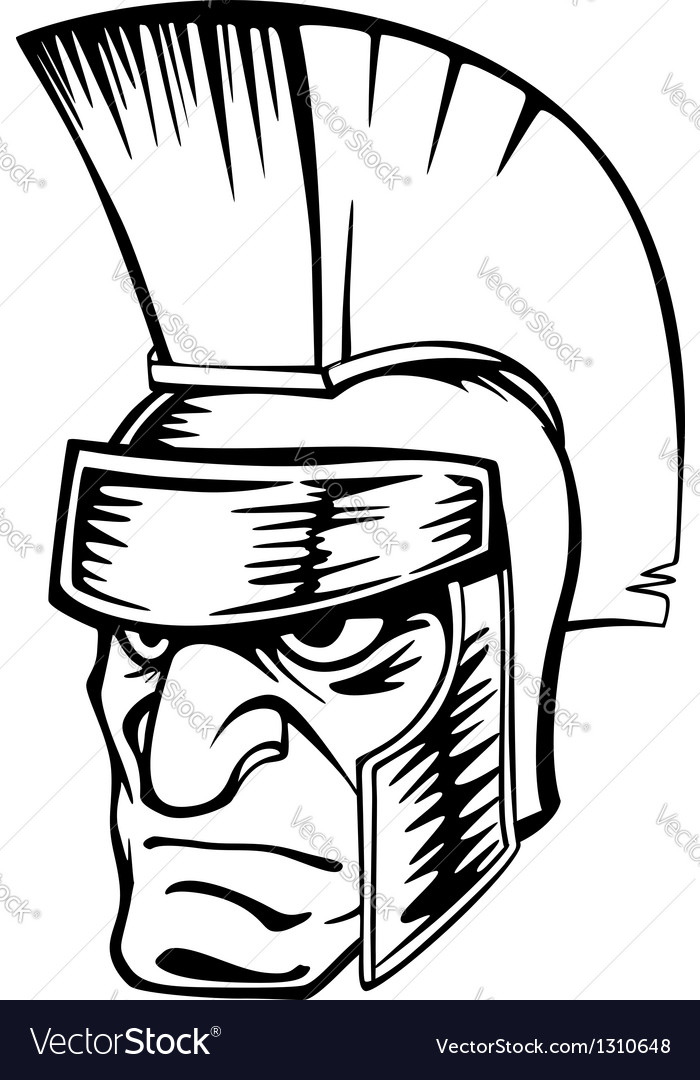 Ancient warrior in helmet vector | Price: 1 Credit (USD $1)