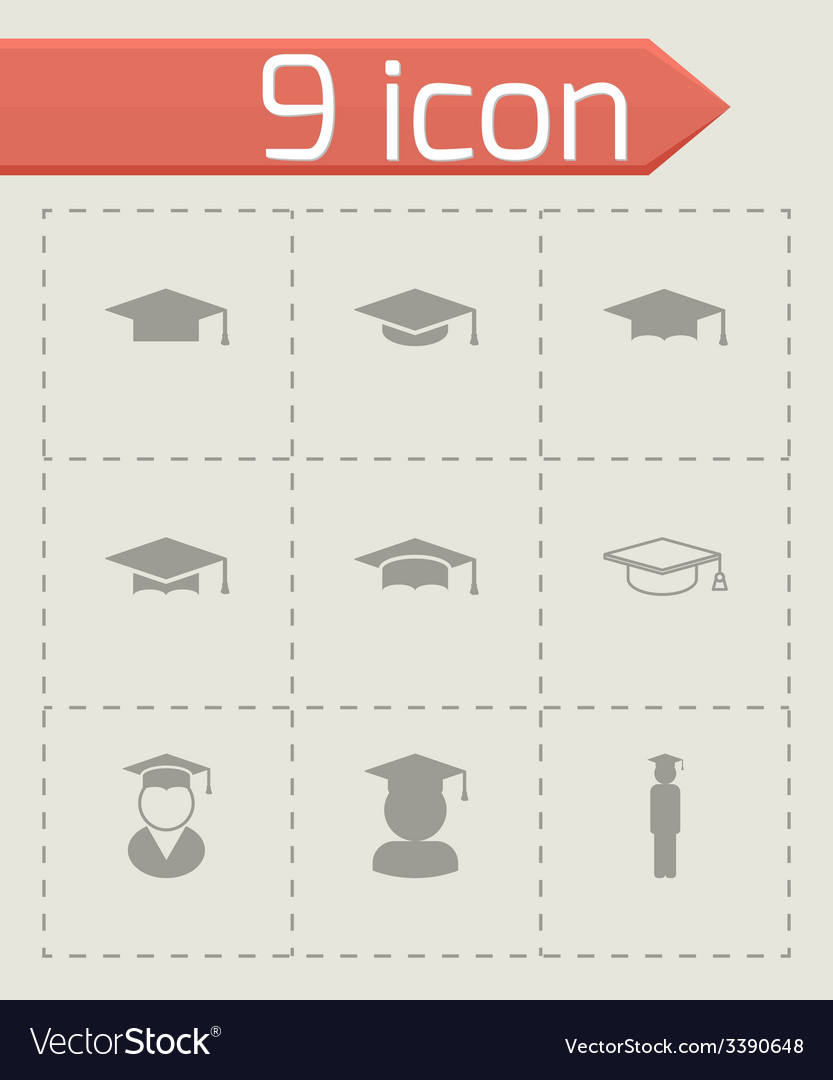 Black academic cap icon set vector | Price: 1 Credit (USD $1)