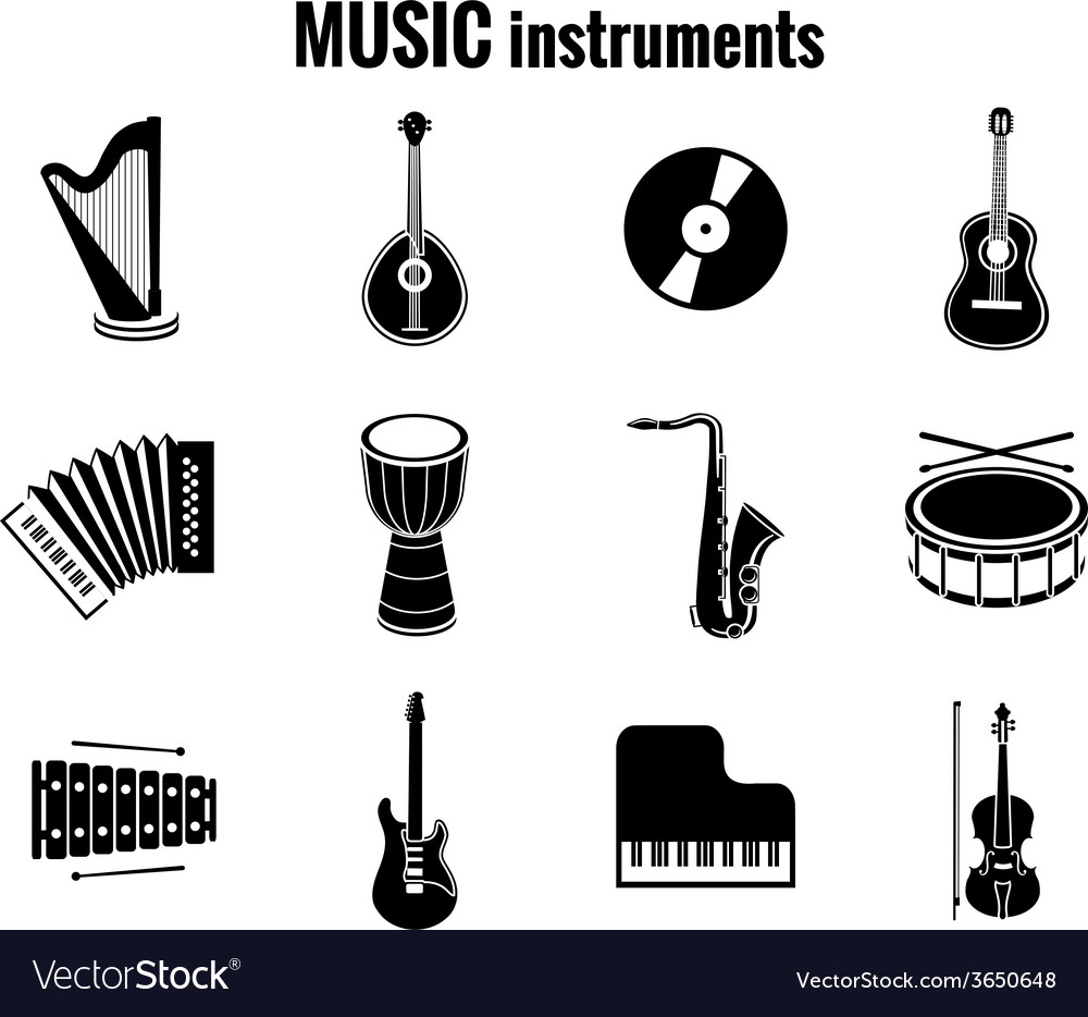 Black music instrument icons on white background vector | Price: 1 Credit (USD $1)