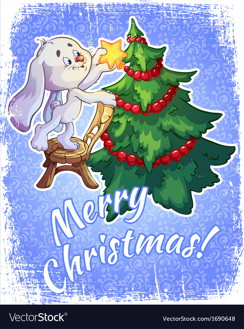 Christmas card with a hare and a christmas tree vector | Price: 1 Credit (USD $1)