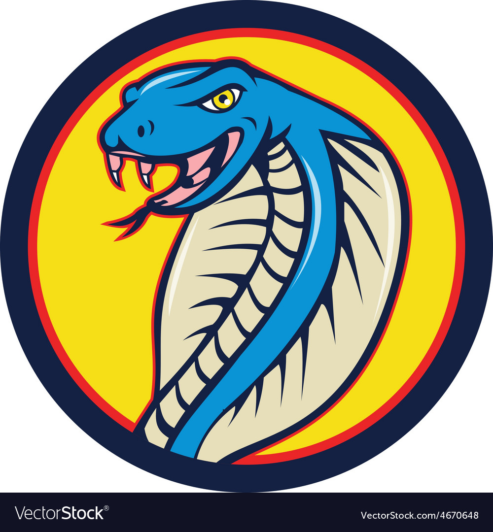 Cobra viper snake head attacking circle cartoon vector | Price: 1 Credit (USD $1)