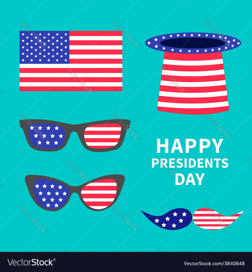 Glasses mustaches hat flag set presidents day vector | Price: 1 Credit (USD $1)