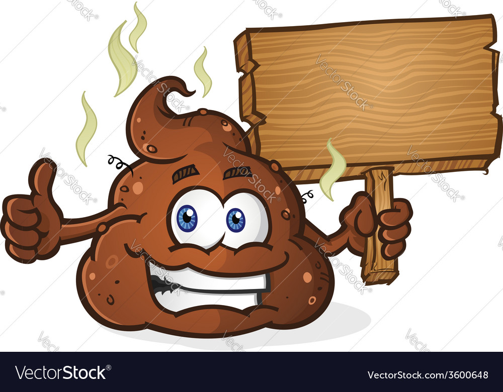Poop cartoon character holding a sign vector | Price: 3 Credit (USD $3)