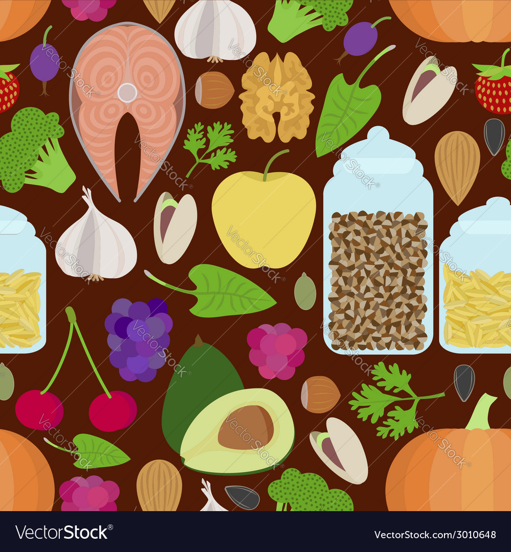 Seamless healthy food pattern vector | Price: 1 Credit (USD $1)