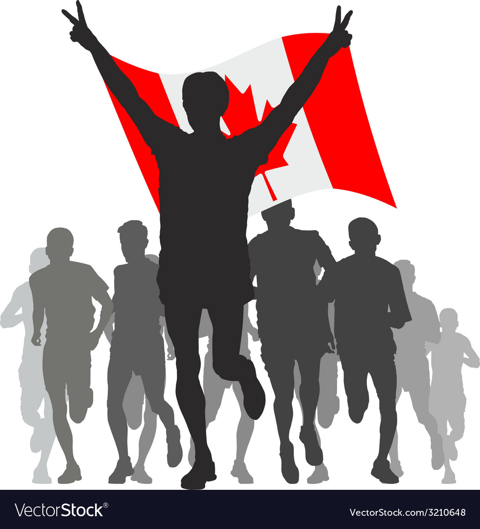 Winner with the canada flag at the finish vector | Price: 1 Credit (USD $1)