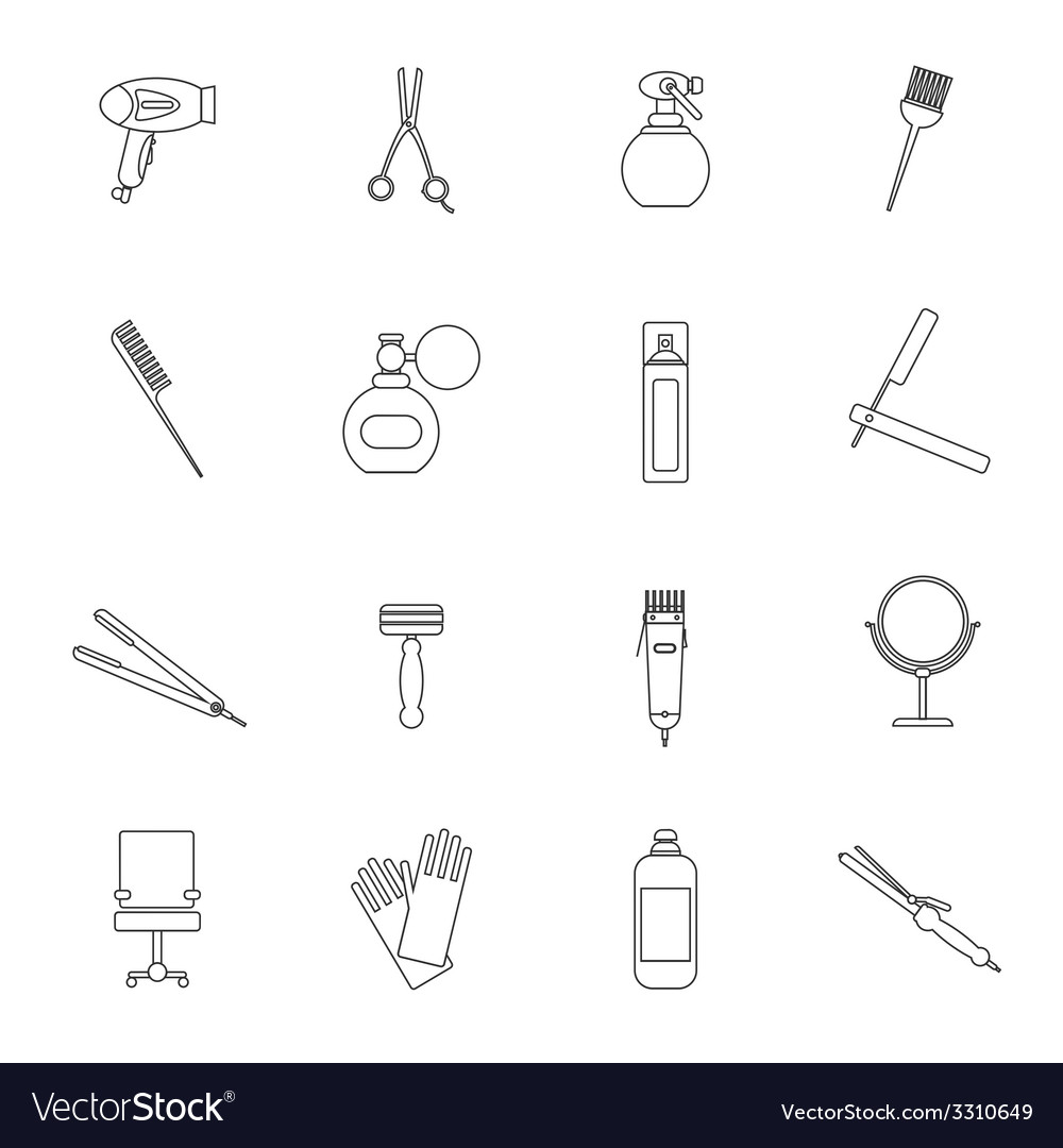 Hairdresser icon set outline vector | Price: 1 Credit (USD $1)