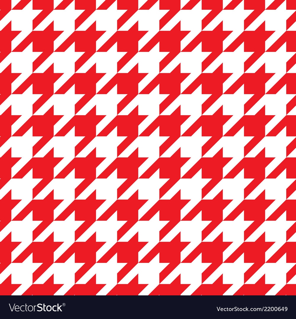 Houndstooth tile red and white pattern background vector | Price: 1 Credit (USD $1)