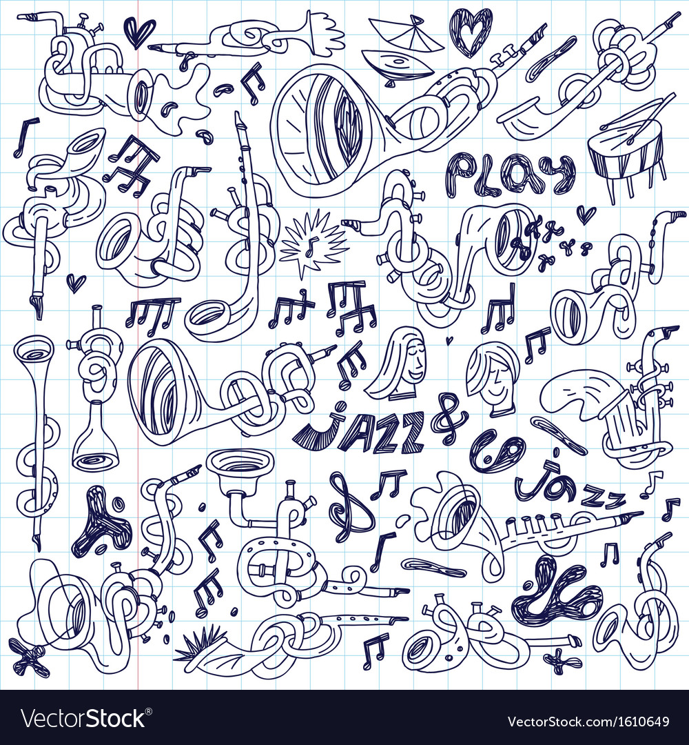 Jazz - doodles set vector | Price: 1 Credit (USD $1)
