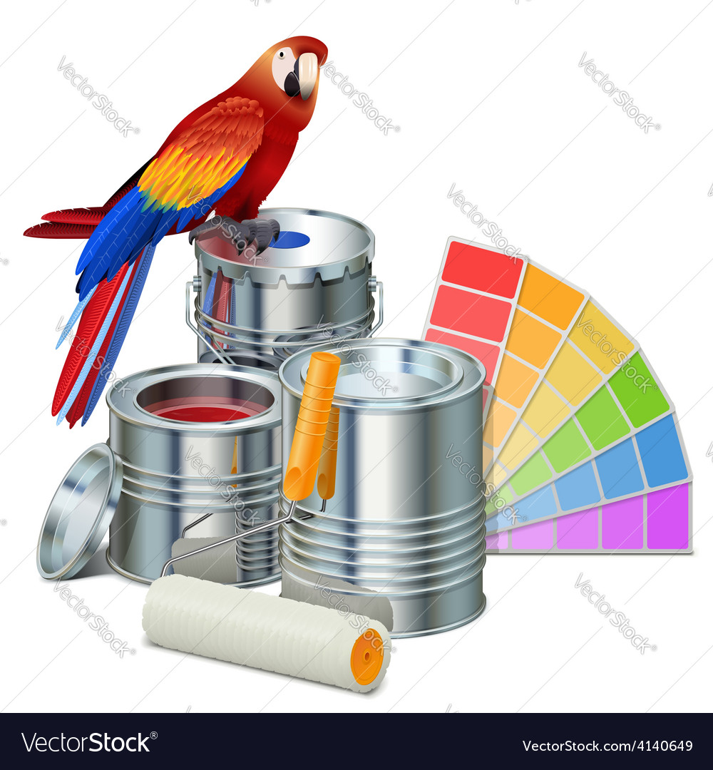 Paint cans with parrot vector | Price: 3 Credit (USD $3)