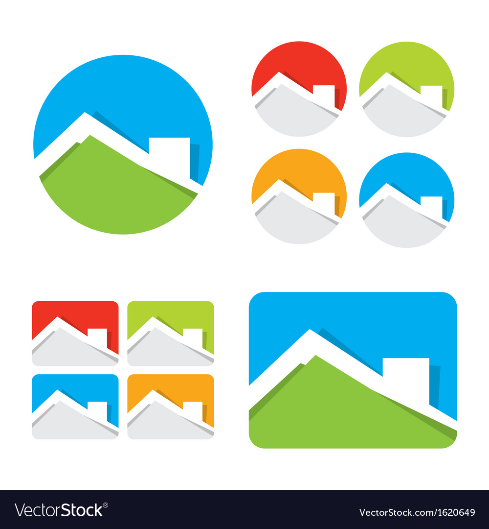 Set of real estate house icons vector | Price: 1 Credit (USD $1)