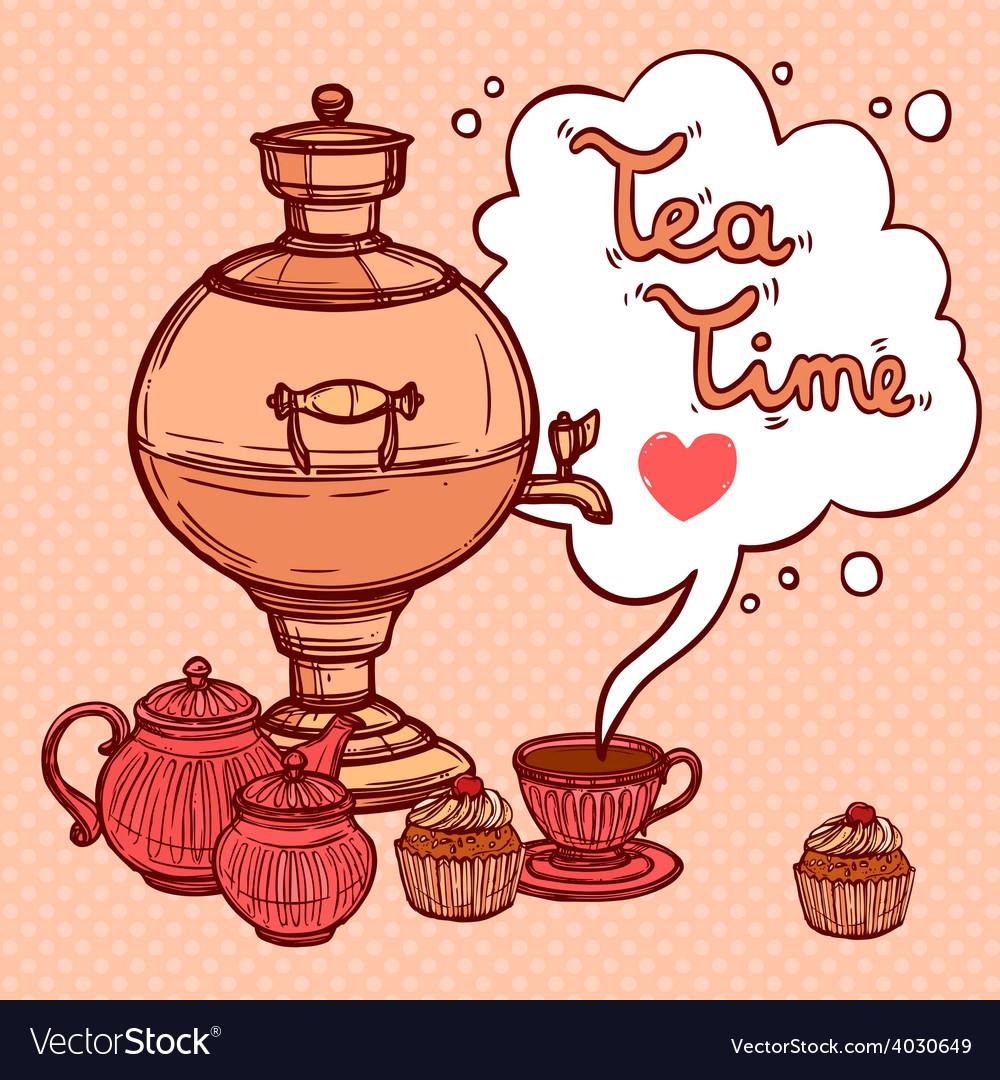 Tea background with samovar vector | Price: 1 Credit (USD $1)