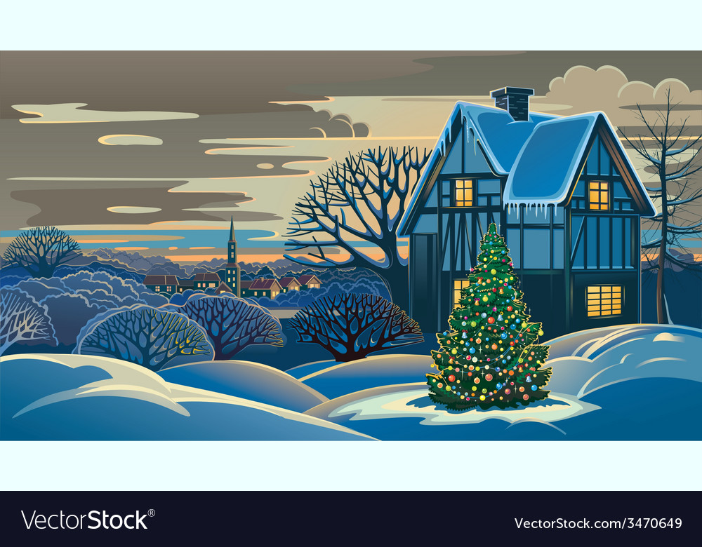 Winter landscape christmas vector   Price: 5 Credit (USD $5)