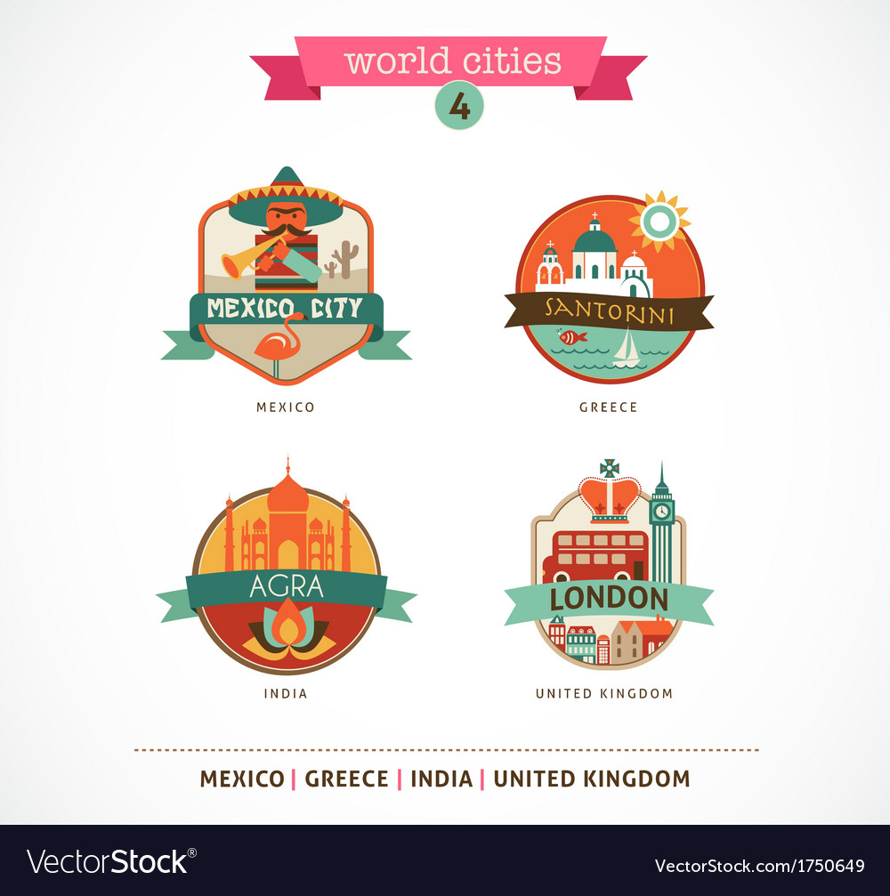World cities labels - santorini london agra mexico vector | Price: 1 Credit (USD $1)