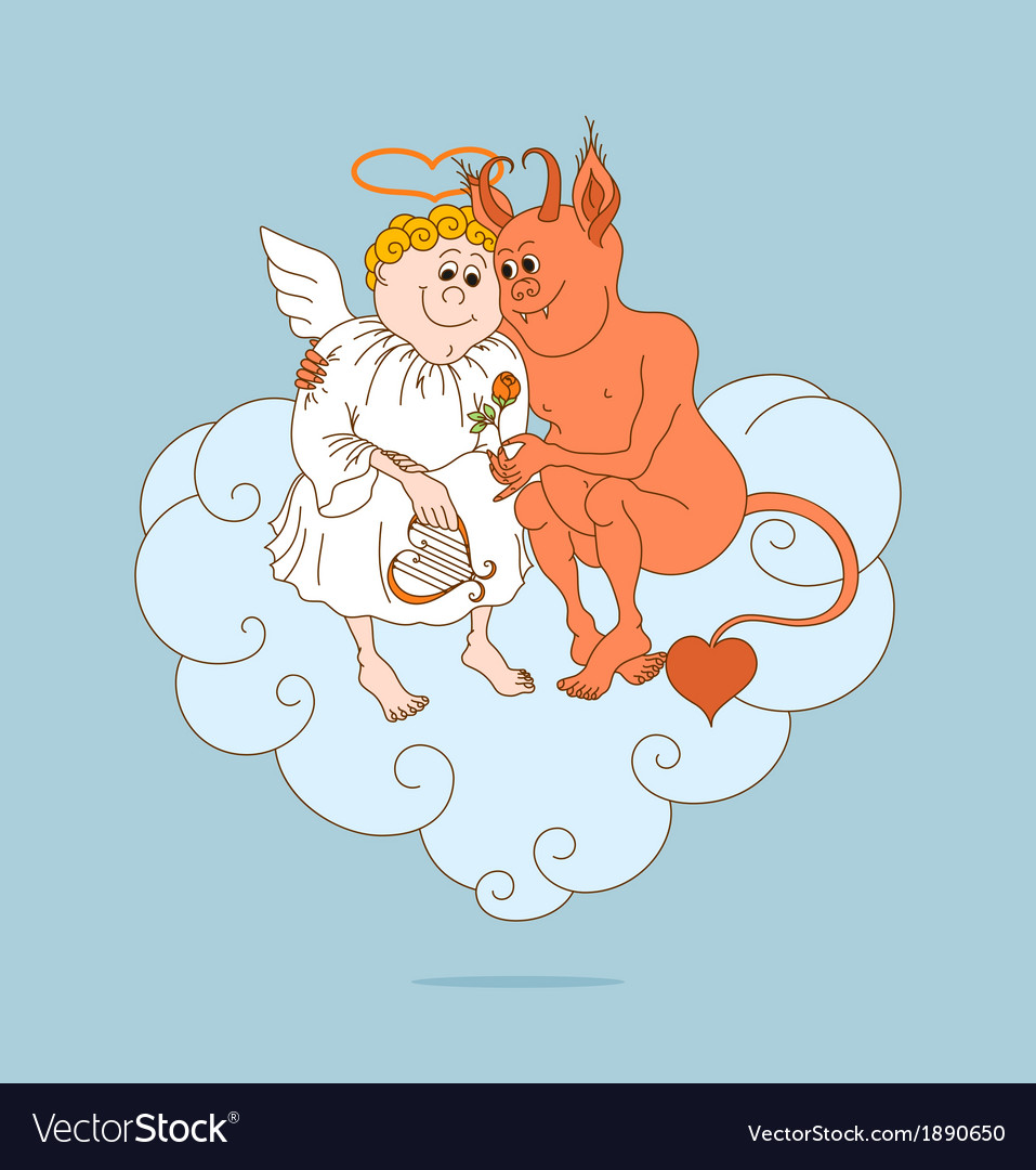 Angel and devil are friends valentines day vector | Price: 1 Credit (USD $1)