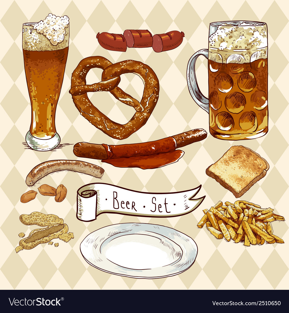 Beer set with beer glasses pretzel sausages vector | Price: 1 Credit (USD $1)