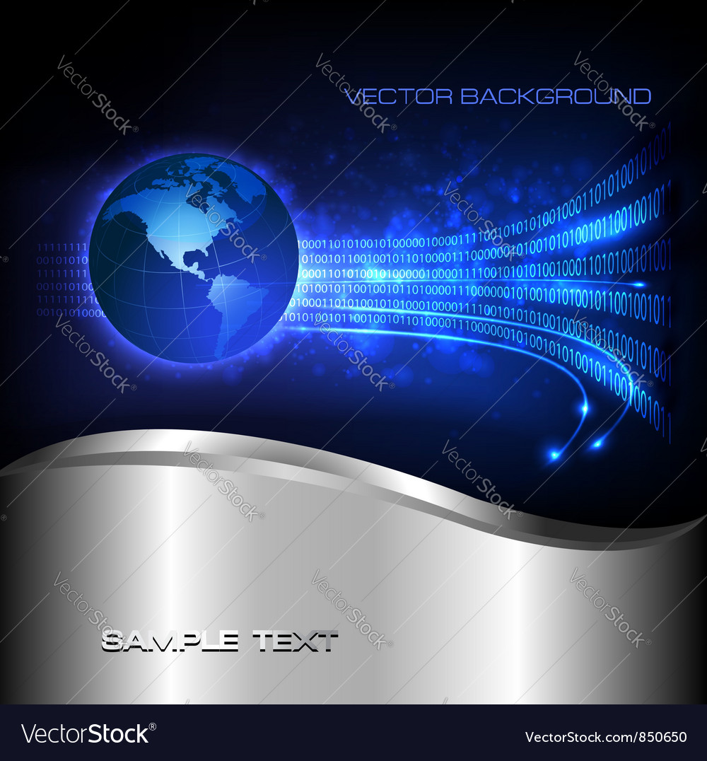Binary code flowing behind the globe vector | Price: 1 Credit (USD $1)
