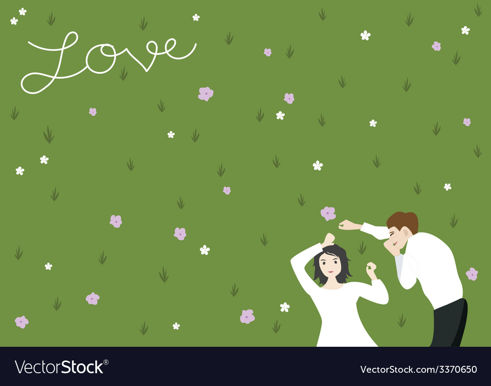 Couple on yard vector | Price: 1 Credit (USD $1)
