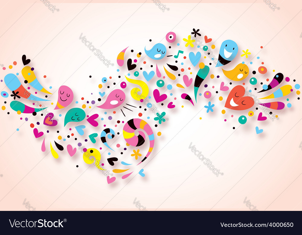 Cute characters fun party abstract art background vector | Price: 1 Credit (USD $1)