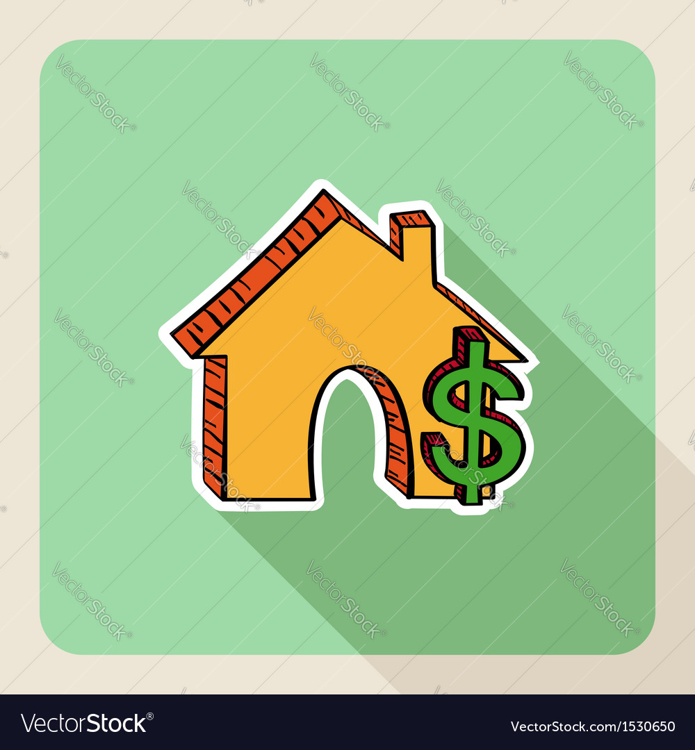 Hand drawn real estate house money symbols vector | Price: 1 Credit (USD $1)