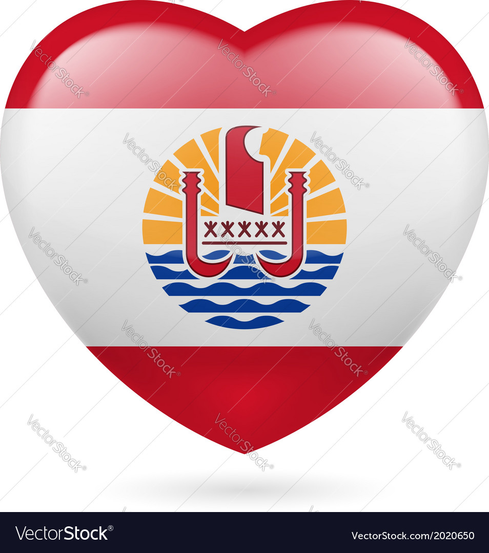 Heart icon of french polynesia vector | Price: 1 Credit (USD $1)
