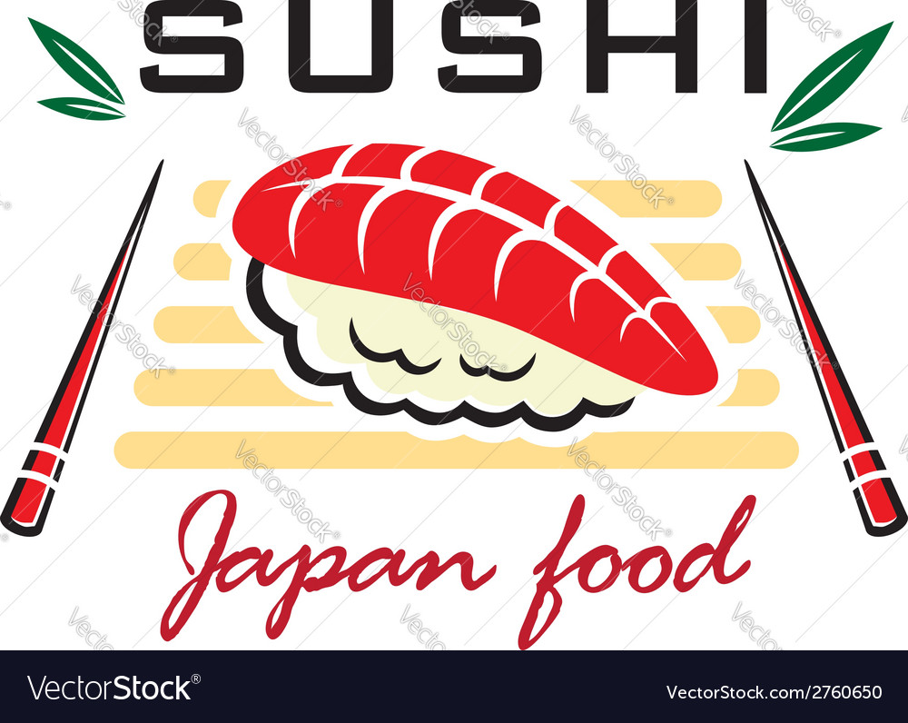 Japanese sushi seafood emblem vector | Price: 1 Credit (USD $1)