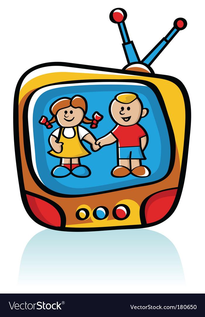 Kids on tv vector | Price: 1 Credit (USD $1)