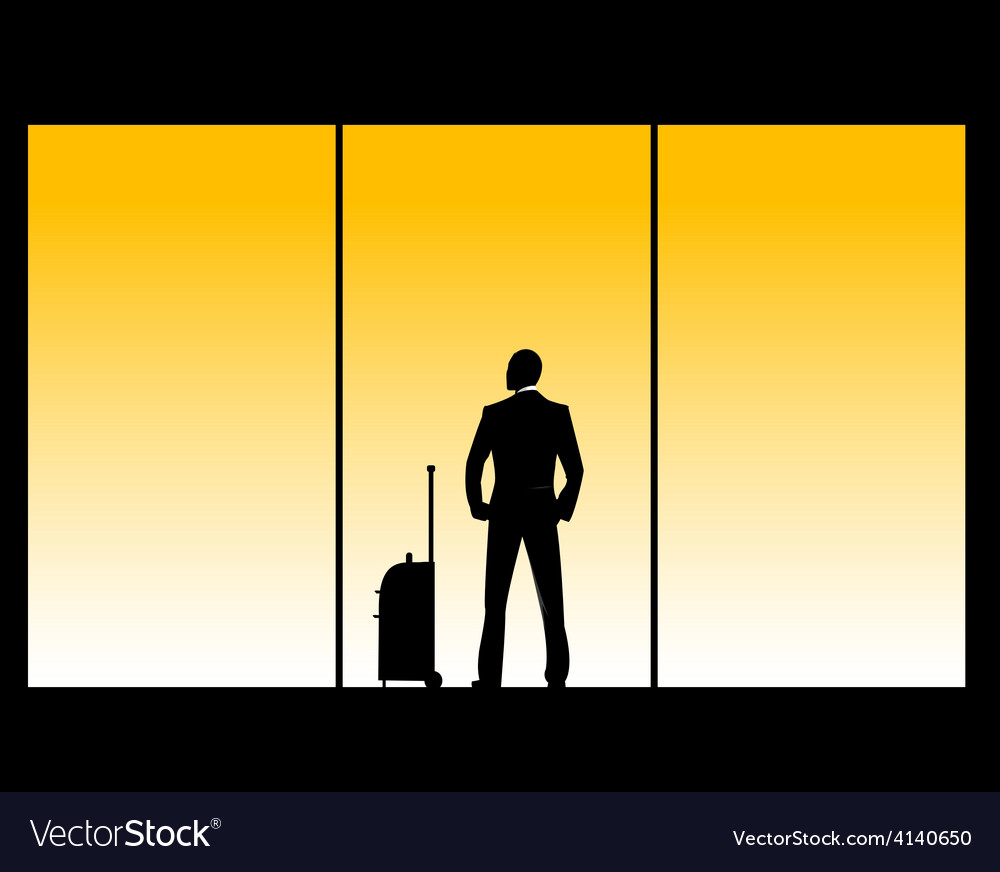 Man in airport lounge vector | Price: 1 Credit (USD $1)