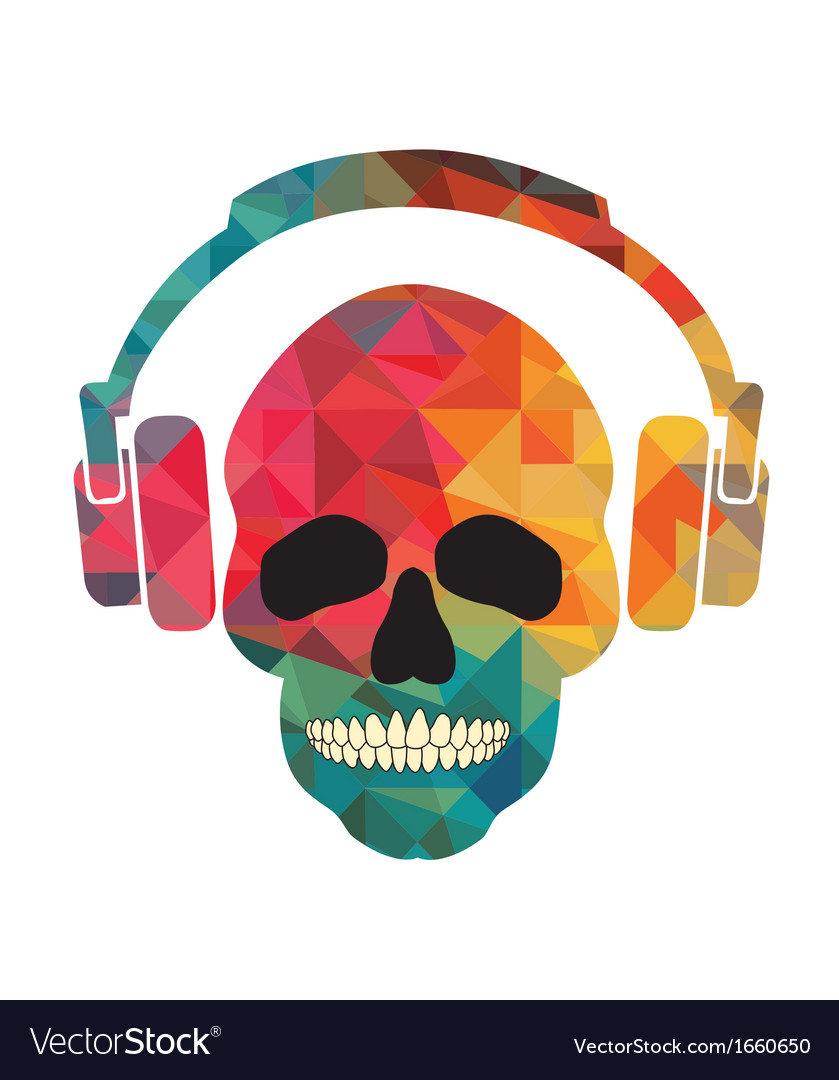 Music fan skull vector | Price: 1 Credit (USD $1)