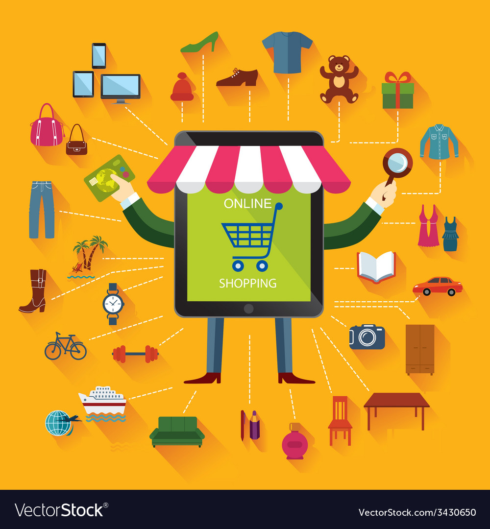 Online shopping and business conceptual backgroun vector | Price: 1 Credit (USD $1)