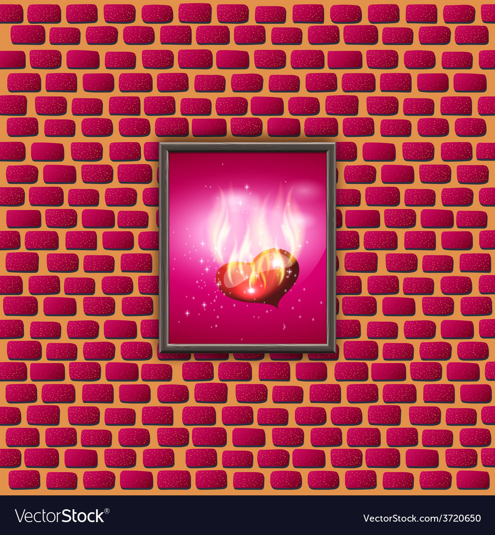 Paintings with glowing hearts on a brick wall vector | Price: 1 Credit (USD $1)