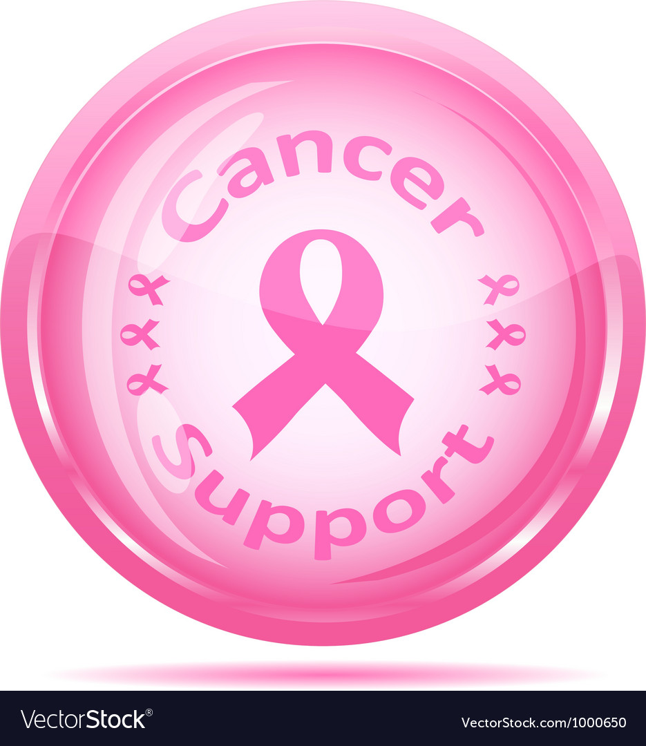 Pink ribbon glossy icon vector | Price: 1 Credit (USD $1)