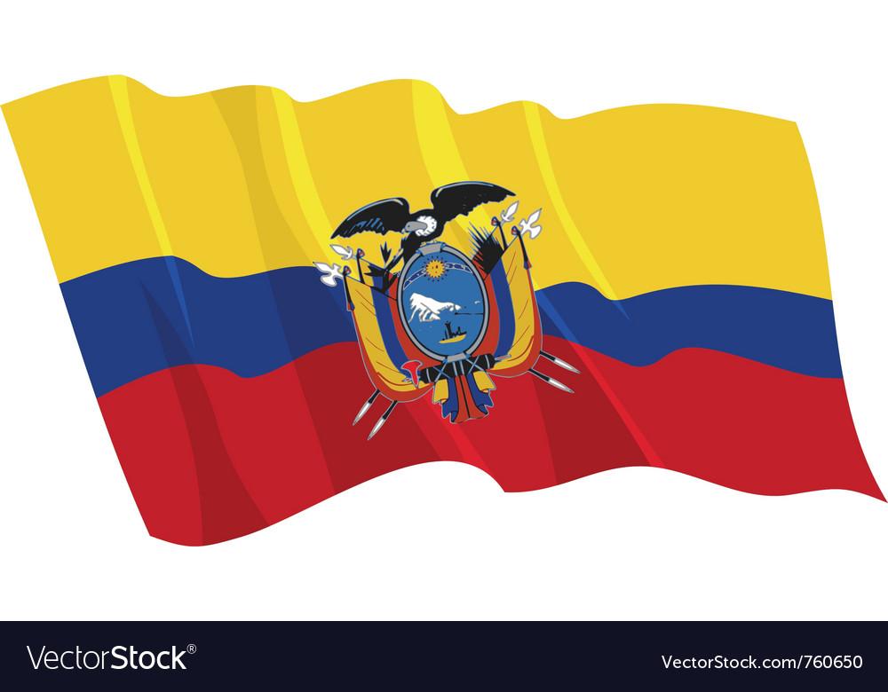 Political waving flag of ecuador vector | Price: 1 Credit (USD $1)