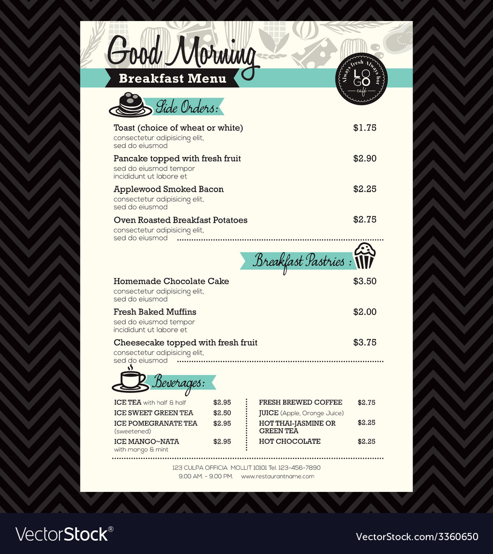 Restaurant breakfast menu design template layout vector