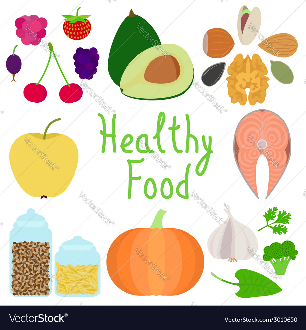 Set of healthy food vector | Price: 1 Credit (USD $1)