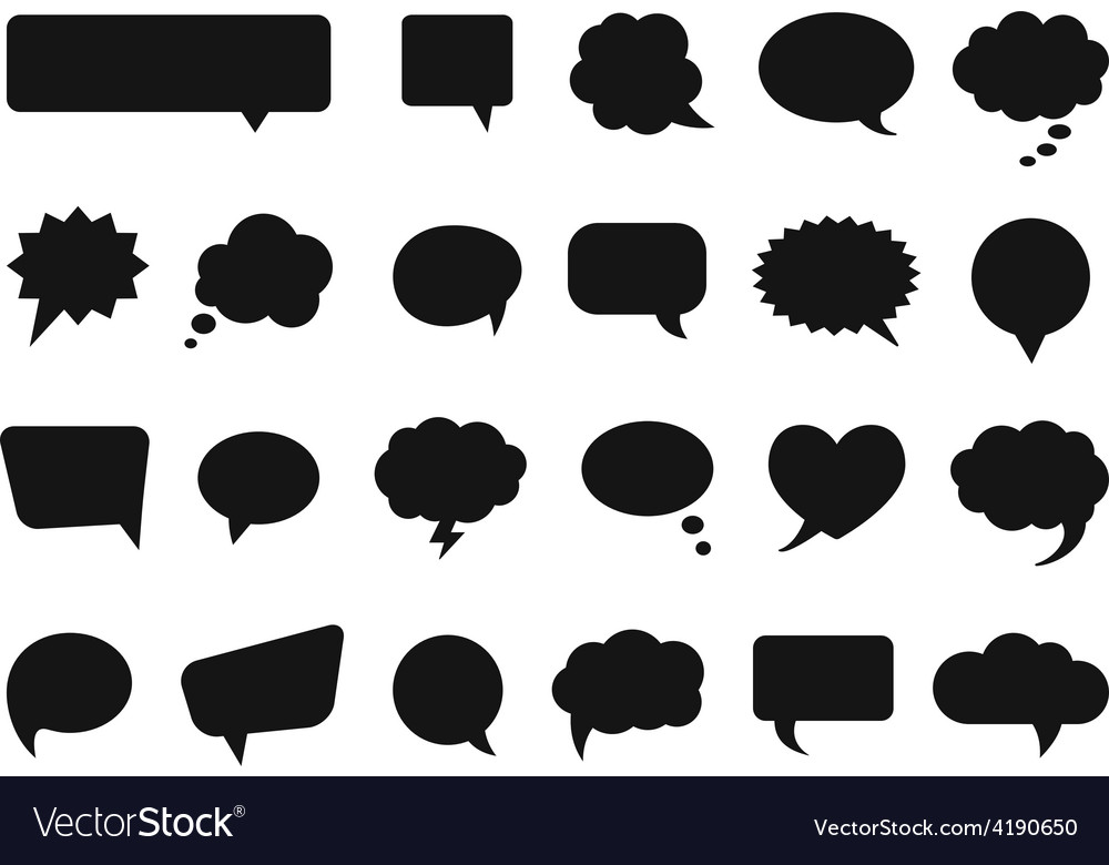 Talk and think comics bubbles silhouettes vector | Price: 1 Credit (USD $1)