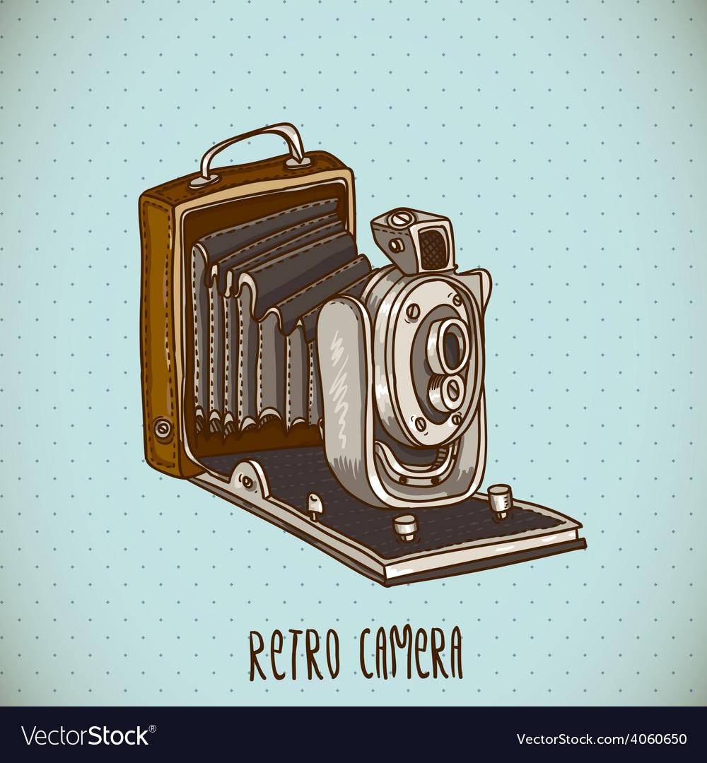 Vintage card with retro camera vector | Price: 1 Credit (USD $1)
