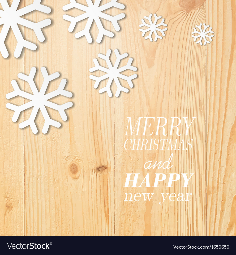 Wood board with white snow and stars vector | Price: 1 Credit (USD $1)