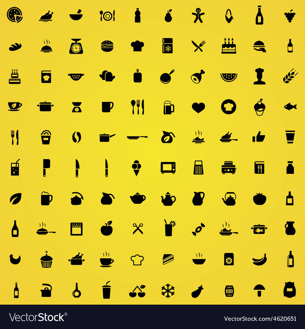 100 cooking icons vector | Price: 1 Credit (USD $1)